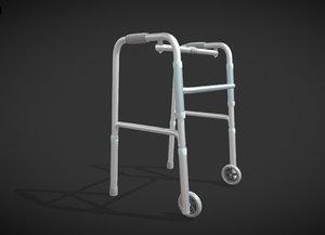 3D model old man walker aids