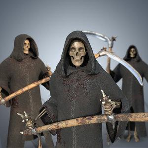 3D grim reaper rigged scythe model