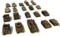 3D pack 22 military tanks model