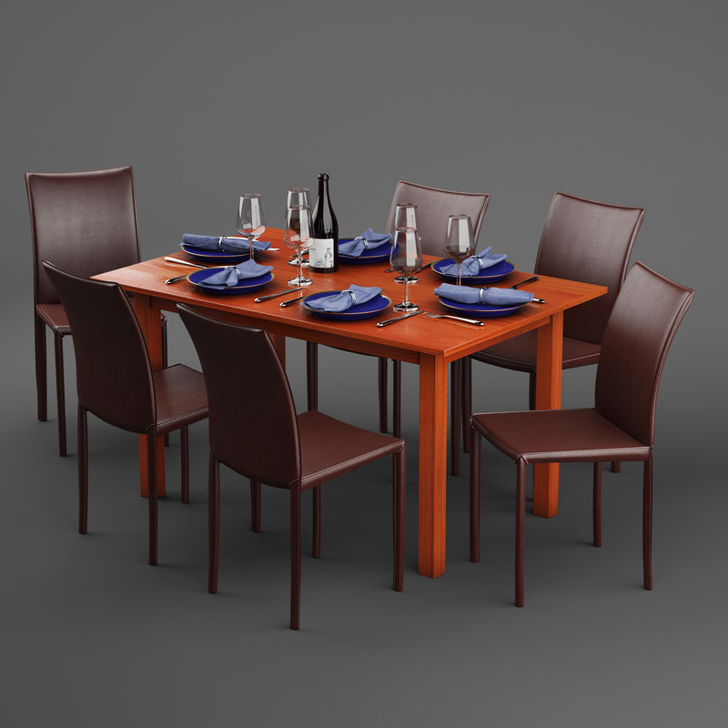 3D model dinex table dining chair