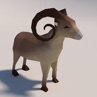 3D model ready low-poly goat