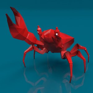 low-poly cartoon crab 3D model