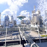 3D future futuristic architectural model