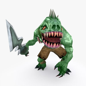 3D model rigged creature type f