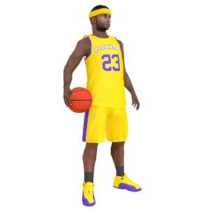 3D model rigged basketball player ball