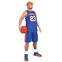 rigged basketball player ball 3D