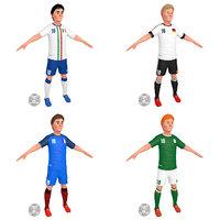 3D model 1 cartoon soccer player