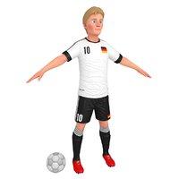 cartoon soccer player 2 3D model