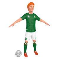 cartoon soccer player 3D model