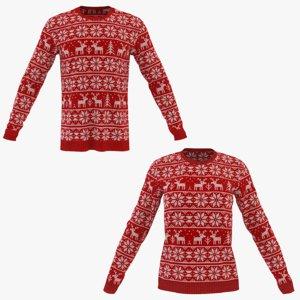 3D model men winter neck sweatshirt