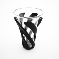 3D set black vases
