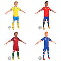 3D cartoon soccer player 2