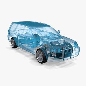 4x4 hybrid suspension x-ray 3D