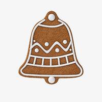 3D gingerbread bell cookie model