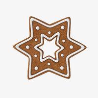 3D gingerbread star cookie model