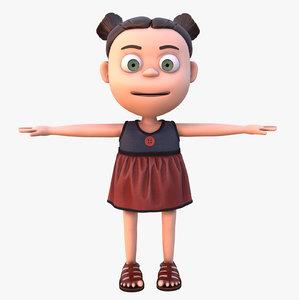 cartoon girl rig model