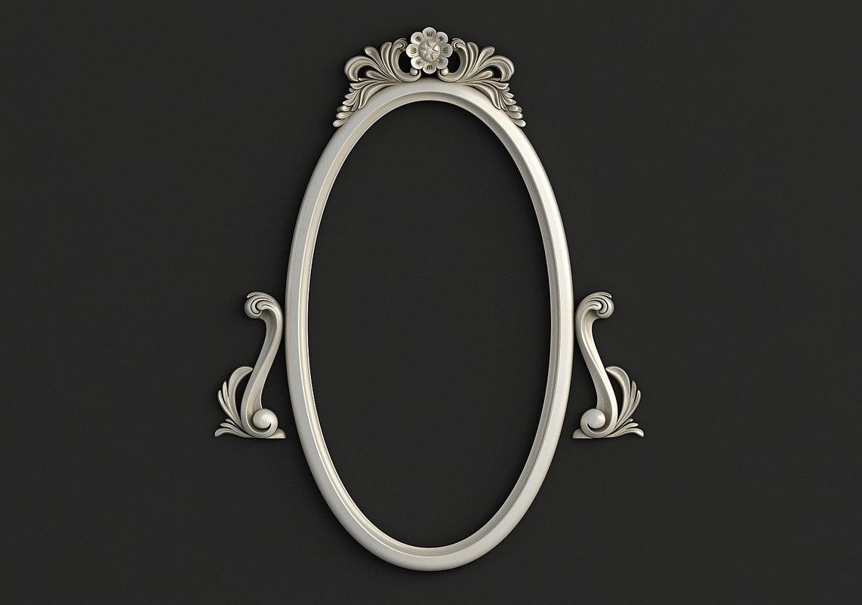 3D model frame oval mirror