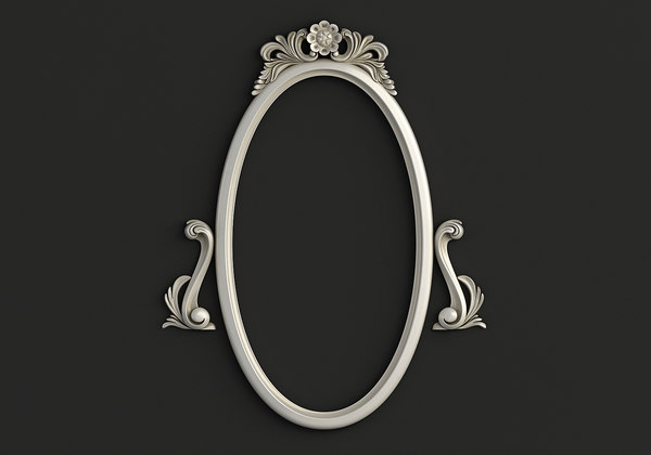 3D model frame oval mirror