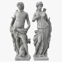 man woman bow sculptures model