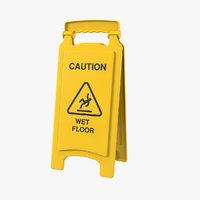 wet floor safety sign 3D model