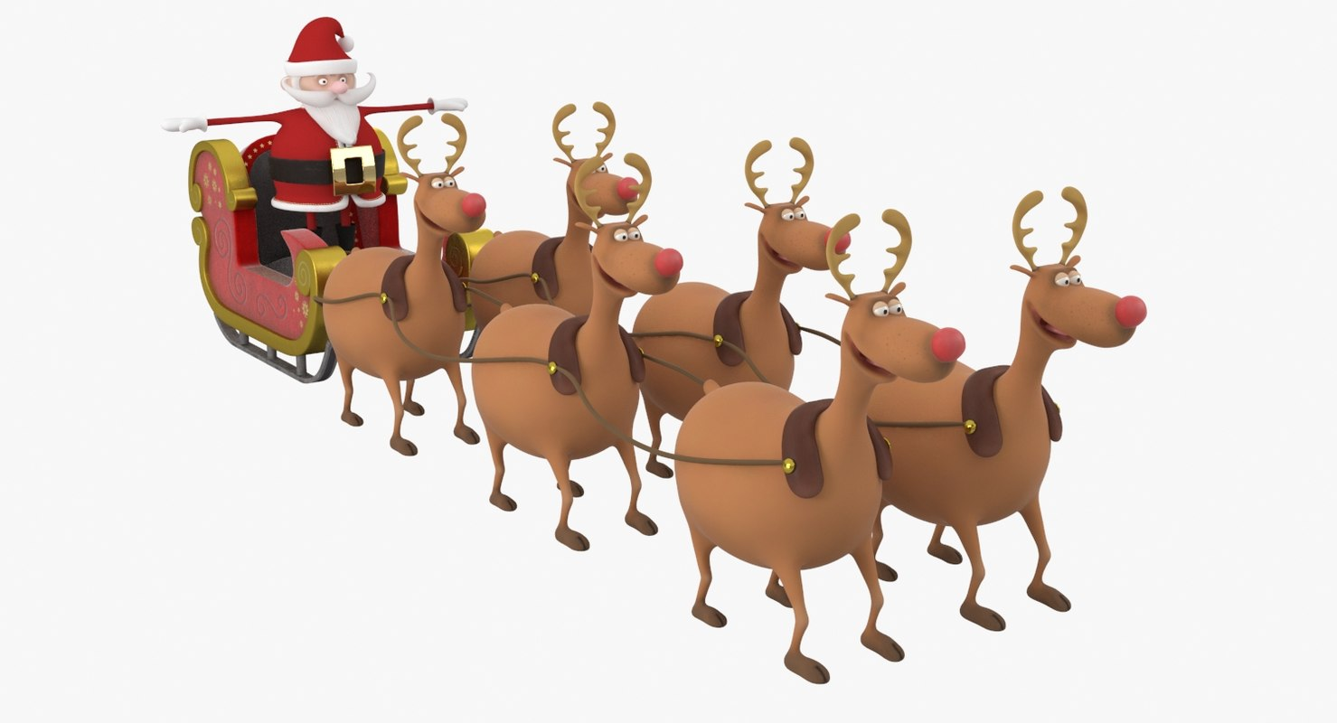 cartoon santa claus sleigh reindeer 3D model