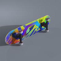 skateboard custom deck design 3D model