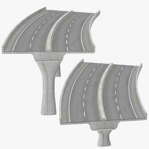 2 lane raised highways 3D