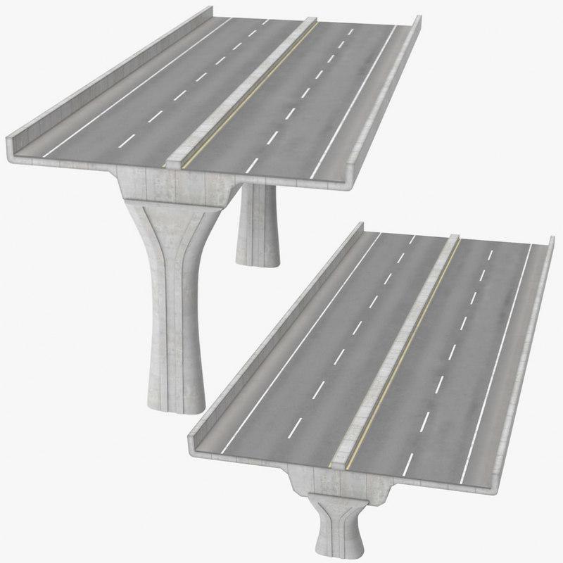 3D 2 lane raised highways