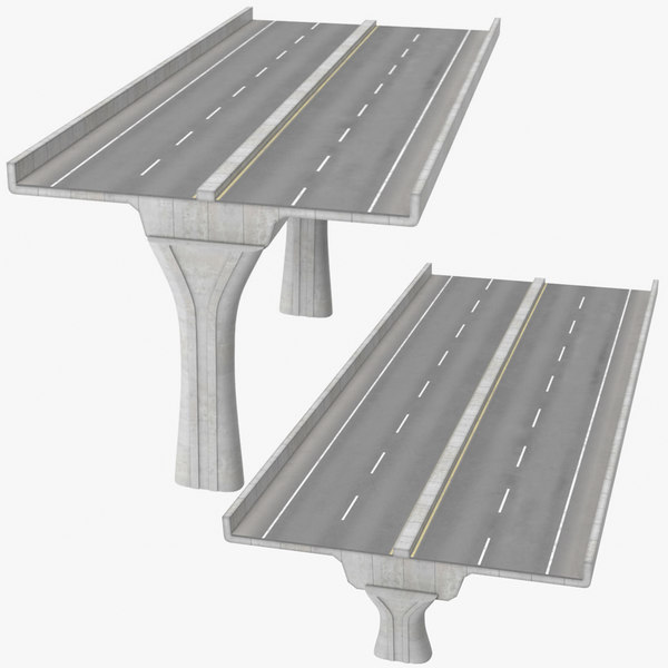 3D 2 lane raised highways