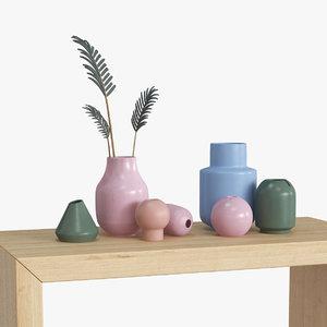 3D set vases