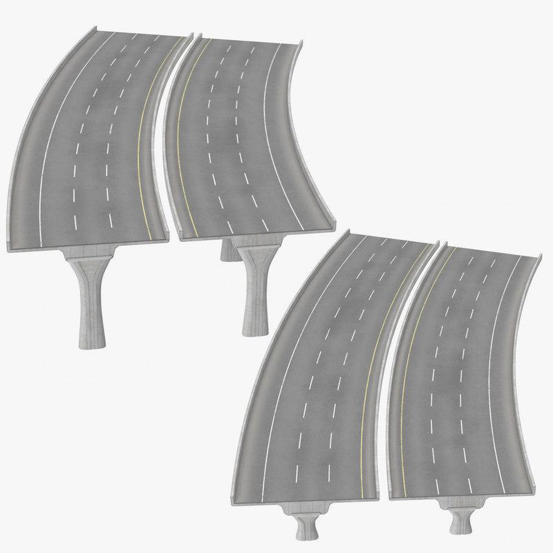 3D 3 lane raised highways
