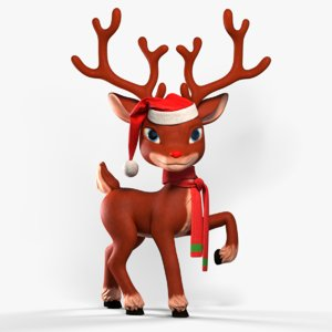 cartoon reindeer christmas animation rig 3D model