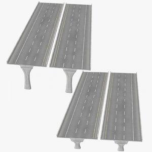3 lane raised highways model