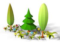 3D cartoon plants pack flowers