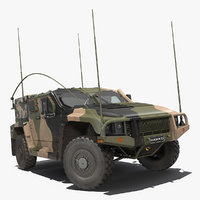 Hawkei PMV 4x4 High Mobility Protected Vehicle Rigged 3D Model
