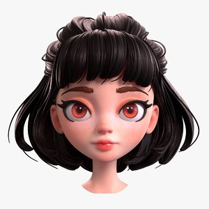 cartoon brunette girl head 3D