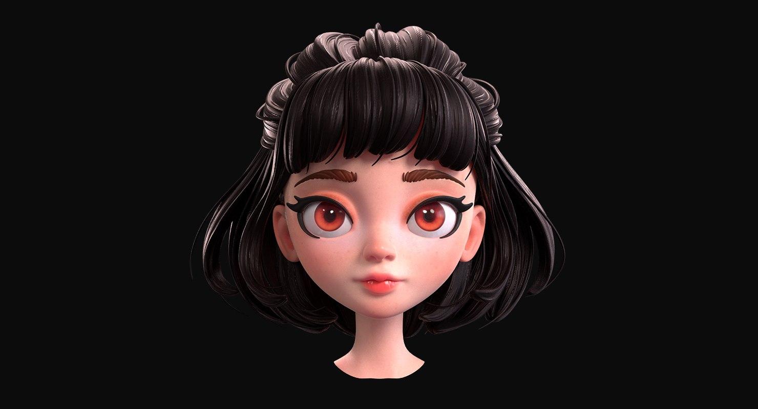 cartoon brunette girl head 3D
