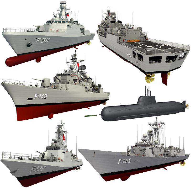 turkish naval forces corvette 3D