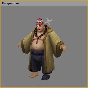 characters - crazy monk 3D model