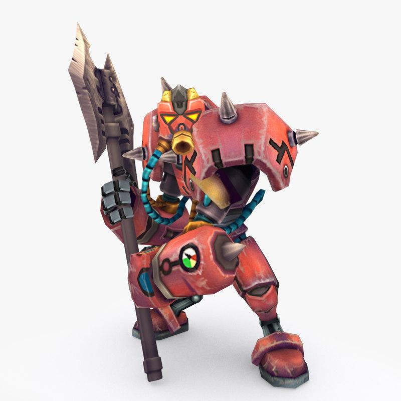3D rigged robot type e