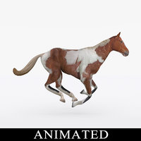 3D rigged running horse model