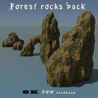 3D pack forest rocks