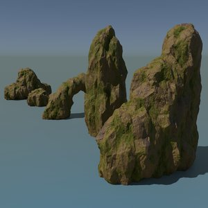 3D pack forest rocks