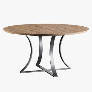 3D dining table gage brown wood