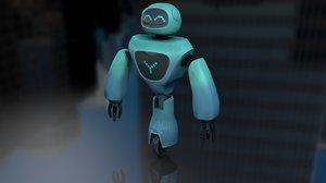 3D cartoon child robot rigged model