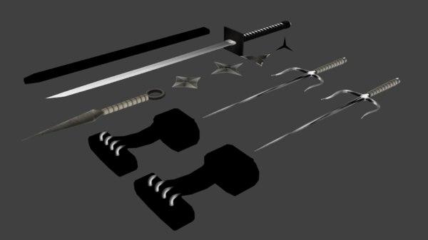 exential ninja weapons sai 3D model