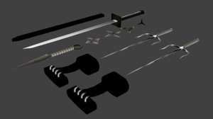 exential ninja weapons sai 3D model