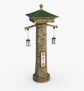 column asian asia 3D model