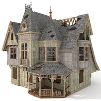 destroyed haunted house 3D