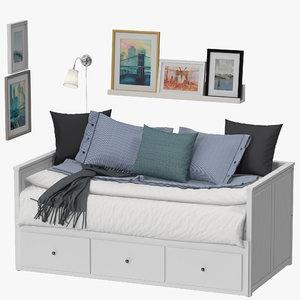 3D ikea hemnes bed